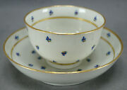 Thomas Wolfe Factory Z Barbeaux Flowers And Gold Porcelain Tea Bowl And Saucer