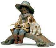Lladro Retired Porcelain The Old Fishing Hole 01012237 Fisherman Dog Brand New