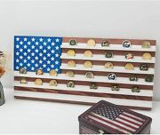 Vintage American Flag Solid Wood Wall Mounted Challenge Coin Display Holder Rack
