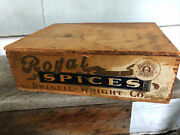 Antique Wooden Dovetailed Box Paper Label Royal Spices Pepper Boston Chicago
