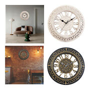 Circular Antique Wall Clocks 12inch Kitchen Silent Battery Operated For Home