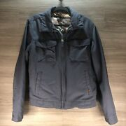 Hollister Menand039s Military Jacket Sz M Blue Button And Zipper Read