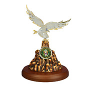 Glass Handcrafted Eagle Figurine Accented With Crystals And 22kt Gold