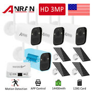 Wireless Security Camera System Outdoor Hd 3mp Battery Powered With Solar Panel