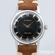 1950s Wittnauer Automatic Cal.11arg Black Engraved Index 33mm Inspected Japan