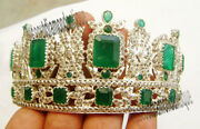 Queen Style Emerald Tiara 16.46ct Antique Rose Cut Diamond Sterling Silver 92.5