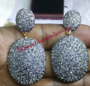 6.96ct Vintage Antique Rose Cut Diamond Sterling Silver Christmas Party Earrings