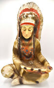 Chalkware Native American Indian Chief Peace Pipe Large Statue 16.5