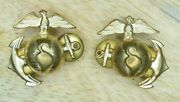 Exceptional Post Wwi 1920's/30's U.s. Marine Corps Officer's Ega Gold Collar Set