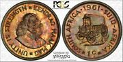 1961 South Africa 1 Cent Pcgs Pr65 Proof Multi Color Toned Only 3 Graded Higher