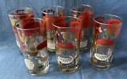 6 Vtg Highball Hiball Glasses W/ Drink Recipes Red Gold Barware Cocktail Collins