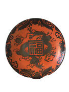 3 Antique Chinese Rare Red Coral Porcelain W/silver Dragon Plates L03