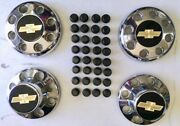 Obs 88-00 Chevy 3500 Dually Center Hub Caps. Set Of 4 Chrome With Lug Covers