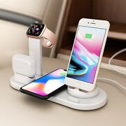 4 In 1 Qi Wireless Charger Charging Stand For Apple Watch Airpod Iphone Samsung