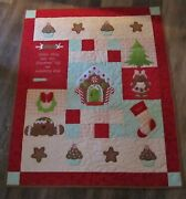 New Handmade Gingerbread Quilt Christmas Wall Quilt 33 X40 Inches