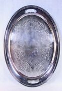 Vintage Reed And Barton Silver-plated Oval Waiter Tray 22 X 15 1/2 1805