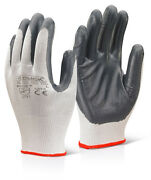 100 Pairs B-click 2000 Ec7gy Polyester Gloves Nitrile Palm Grey All Sizes