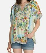 💕240 Johnny Was Aria Lux Silk Floral Print Blouse Top Sz Medium Fits Large Too