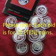 Lot Of 10 One - 1 Gram Each .999 Pure Silver Mini Poker Chips Silvertime W. Caps