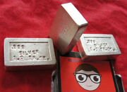 Rare Pei Vintage Test Assay Silver Bars Lot Of 3 1 Ounce Each .999 Pure Silver