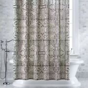 Crate And Barrel Linley Charcoal Shower Curtain 72x72 - Nwt