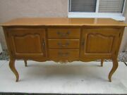 Ethan Allen Credenza Side Board Solid Wood 3 Drawers And Two Doors French Style