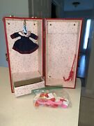 Vintage Doll Clothes Trunk Case Red Metal Wardrobe Carrying Barbie