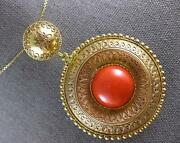 Antique Extra Large Aaa Coral 18k Yellow Gold Handcrafted Pendant Necklace 27439