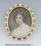 Antique 14k Seed Pearl Portrait Of Pretty Young Woman Brooch/pin C1880-1910