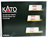N Kato 106-6196 Ttx 759324maxi-i 5-unit Well Car Set W/gray One Containers