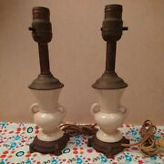 Pair Of 2 Vtg Ceramic And Metal Table Lamps, Small Bedside Lights