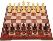 Portable Vintage Chess Set Wood Style Board Magnetic Pieces Folding Game