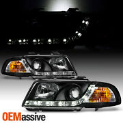 Fits 1996-1999 Audi A4 Drl Led Strip Projector Headlights R8 Style Black