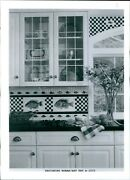 1996 Tiles Kitchen Vintage Cupboards Pantry Dishes Fish Checkered Photo 5x7