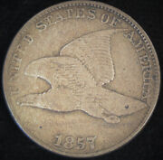 1857 Flying Eagle Cent, Die Clash With 50 Cent, Snow-9 Variety, Very Fine, C4669