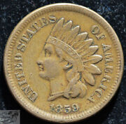 1859 Copper Nickel Indian Head Penny, Cent, Very Fine+ To Extremely Fine, C5138