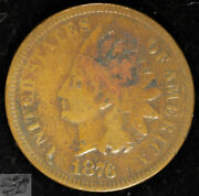 1876 Indian Head Cent, Penny, Fine+ Details, Light Pitting, Free Shipping, C4973