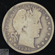 1904 S Barber Half Dollar Good+ To Very Good Condition Low Mintage 550k C4731