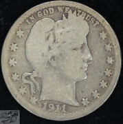 1911 D Barber Quarter Good Condition Silver Free Shipping In Usa C4757