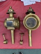 2 Antique Horse Carriage Oil Lamps Coach Buggy Lantern Sconce Brass Copper