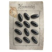 Card 12 Large Deco 1920and039s Vintage Czech Oval Faceted Black Glass Buttons 34mm