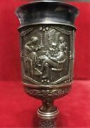 Antique Imperial Russian Gilt Sterling Silver 84 Etched Goblet Wine Cup 147 Gr