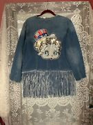 Upcycled Womenandrsquos Vintage Betty Boop Sequin Denim Jacket/duster Gypsy Hippie Plus