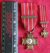 Rhodesian Bronze Cross With Second Award Bar And Miniature Medal With Bar