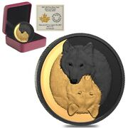 2021 Canada 1 Oz Silver The Grey Wolf - Black And Gold Coin Series .9999 Fine