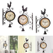Wall Clock Station Clock Porch Swivel Decorative Rooster Statue With Bell