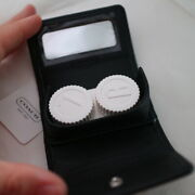 New Coach Leather Travel Contact Lens Case W/ Mirror Black Nwt