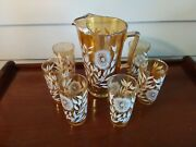 Vintage Amber With White Flowers Heavy Glass Pitcher 9 Ht With Matching 6 Glass