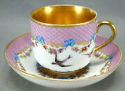 Authentic Royal Vienna Hand Painted Birds Blue Bows Pink Gold Cup And Saucer C1787