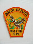 Vintage 1968 North Dakota Game And Fish Dept Twill Police Patch Mint Usa Made